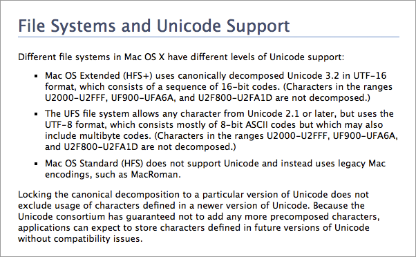 Apple - File Systems and Unicode Support