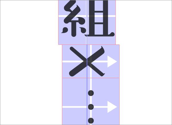 大文字Xの字形が基準