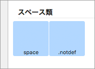 「.notdef」「space」を追加